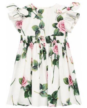 Платье из поплина с принтом Dolce & Gabbana