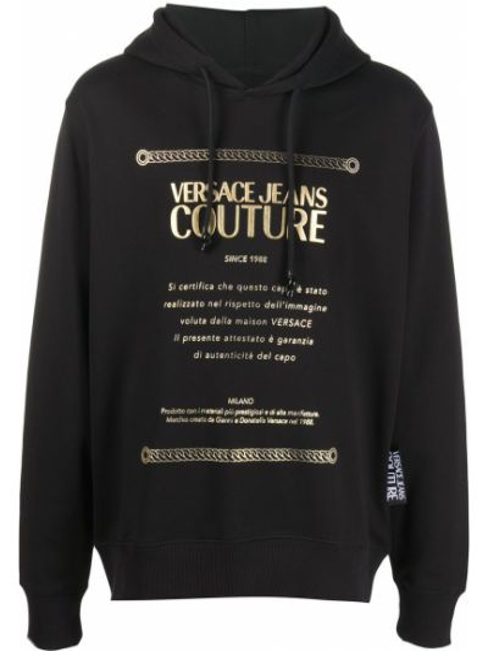 Ze sznurkiem do ściągania z rękawami bawełna czarny jeansy Versace Jeans Couture