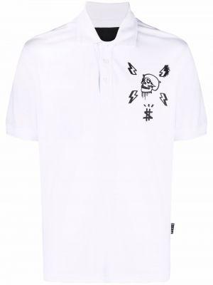 Biała koszula bawełniana krótki rękaw z printem Philipp Plein