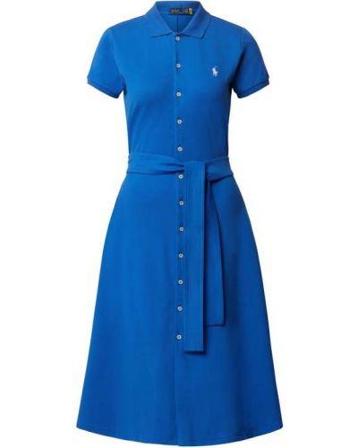 Niebieska sukienka bawełniana z paskiem Polo Ralph Lauren