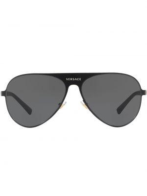 Прямые черные солнцезащитные очки металлические Versace Eyewear