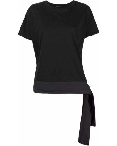 Хлопковая черная футболка с вырезом Roberto Collina