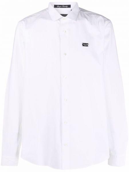 Biała biała koszula z długimi rękawami Philipp Plein