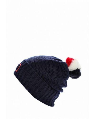 Синяя шапка с помпоном Tommy Hilfiger
