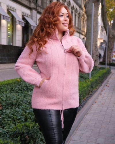 Кожаная куртка с мехом - розовая Rozetka
