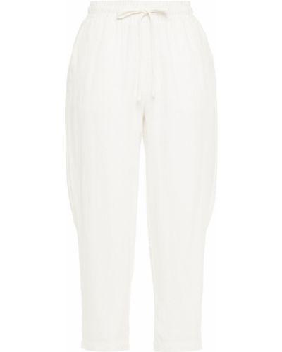 Льняные белые укороченные брюки с карманами Walter Baker