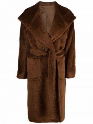 Коричневое пальто с капюшоном Tagliatore