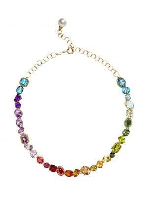 Złoty naszyjnik z pereł - niebieski Dolce And Gabbana