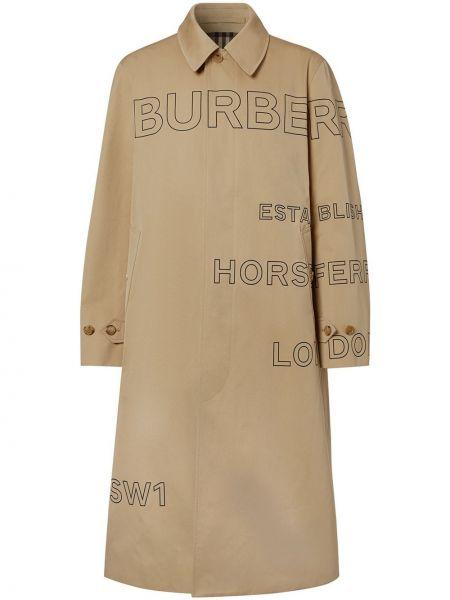Коричневое пальто классическое с воротником из верблюжьей шерсти Burberry