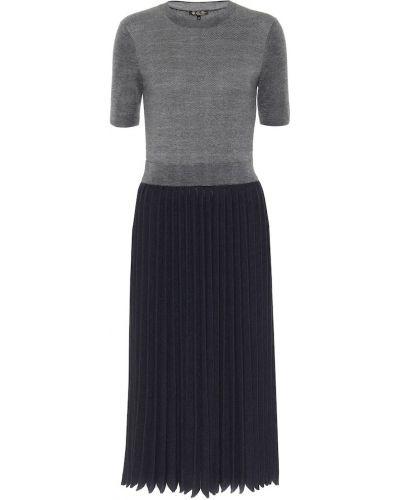 Серое шелковое платье миди Loro Piana