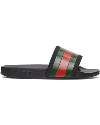 Otwarty czarny klapki z paskami Gucci