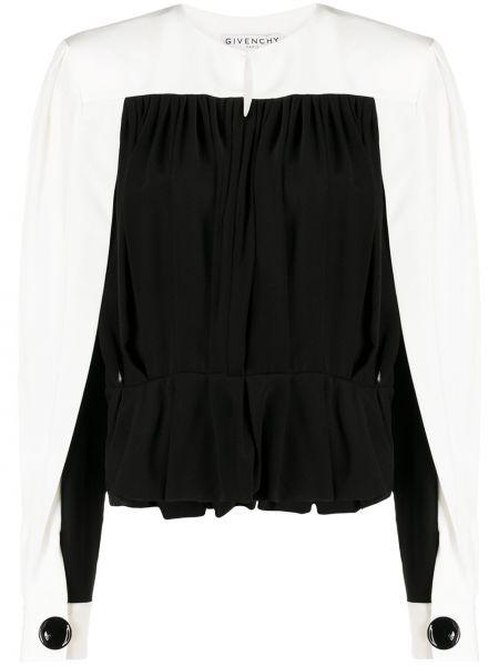 Jedwab czarny bluzka z długim rękawem zapinane na guziki z mankietami Givenchy