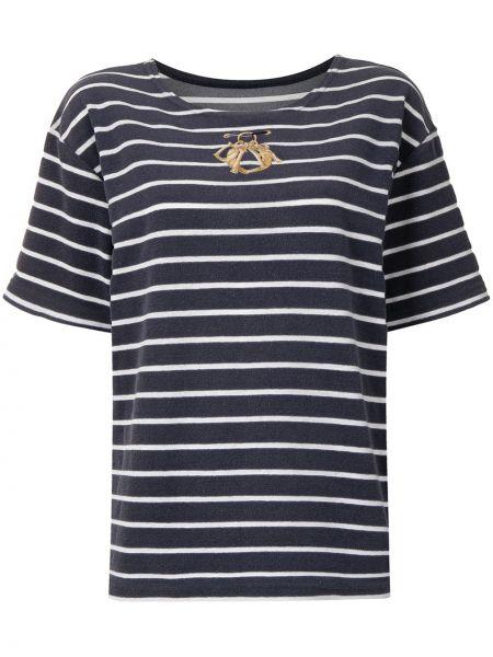 Czarny t-shirt w paski bawełniany Christian Dior