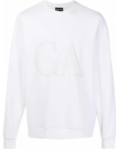 Biała bluza długa z długimi rękawami z printem Giorgio Armani