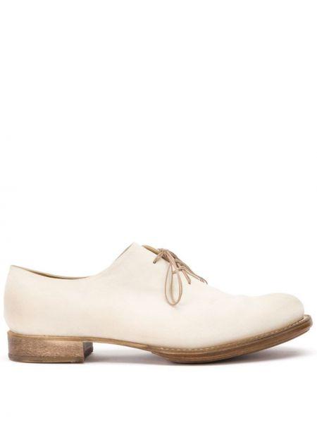Кожаные белые туфли на шнуровке на каблуке на шнуровке Cherevichkiotvichki