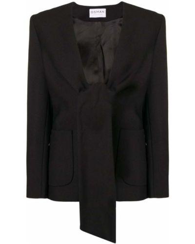 Черный удлиненный пиджак с воротником на пуговицах Osman