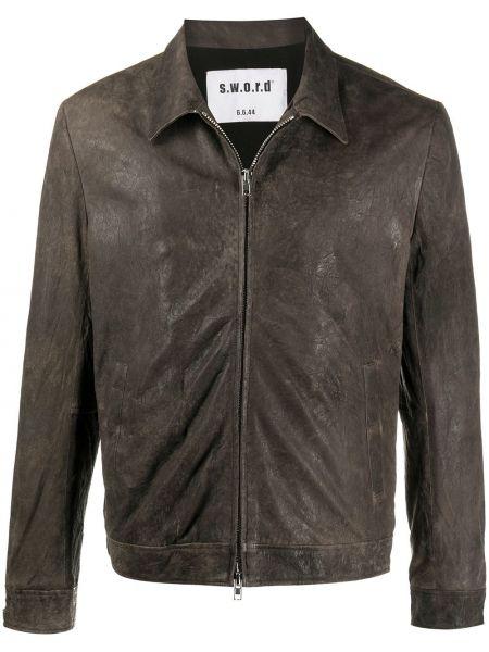 Коричневая куртка на молнии с воротником с карманами S.w.o.r.d 6.6.44