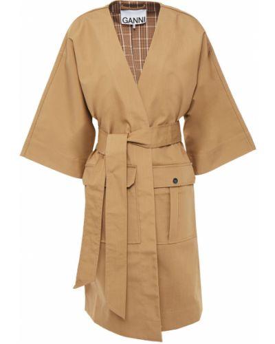 Текстильное желтое пальто с карманами Ganni
