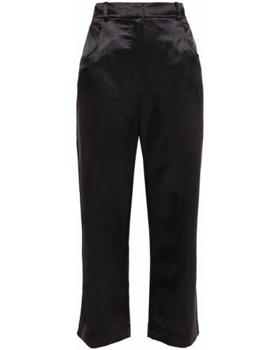 Czarne spodnie z paskiem z wiskozy Alexachung