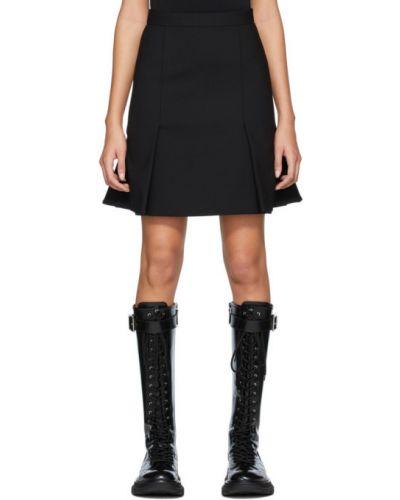 Wełniany czarny spódnica mini Alexander Mcqueen