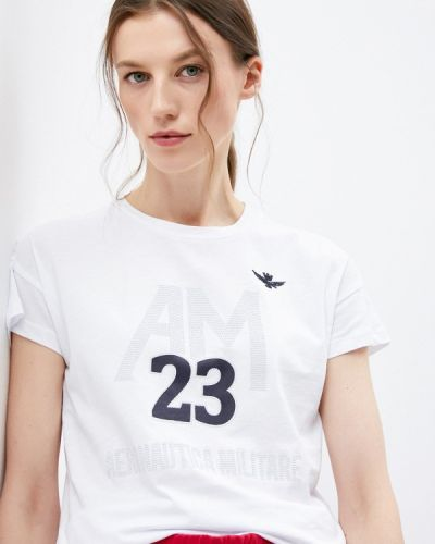 Белая футболка с короткими рукавами Aeronautica Militare