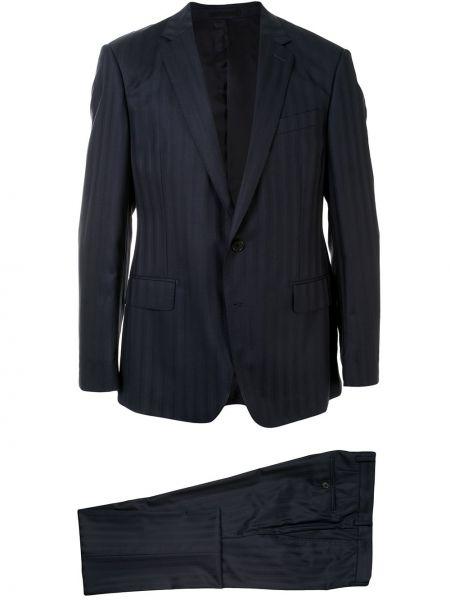 Костюмный черный костюм классический на пуговицах узкого кроя Kent & Curwen
