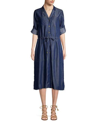 Джинсовое платье макси с длинными рукавами с заплатками Donna Karan