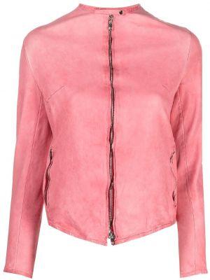 Розовая кожаная длинная куртка с длинными рукавами Salvatore Santoro