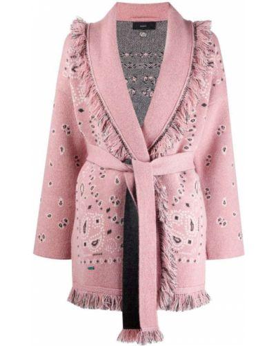 Розовое длинное пальто Alanui