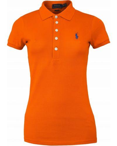 Pomarańczowy t-shirt bawełniany krótki rękaw Ralph Lauren