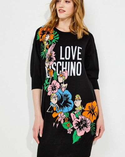 Черное платье с длинными рукавами Love Moschino