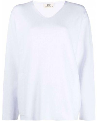 Bawełna z rękawami sweter z okrągłym dekoltem z dekoltem w szpic Sminfinity