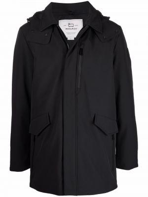 Пальто с капюшоном - черное Woolrich
