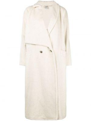 Белое шерстяное пальто винтажное с карманами Versace Pre-owned