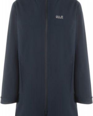 Синяя куртка с капюшоном мембранная на молнии свободного кроя Jack Wolfskin