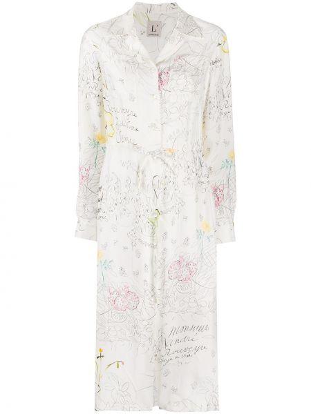 Платье миди на пуговицах с цветочным принтом Lautre Chose