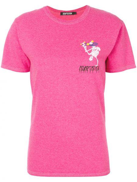 Różowy t-shirt bawełniany z printem Adaptation