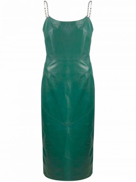 Кожаное зеленое платье миди без рукавов Manokhi