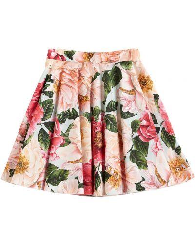 Spódnica bawełniana w kwiaty z printem Dolce And Gabbana