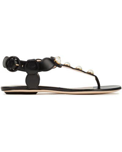 Czarne sandały skorzane perły Gucci