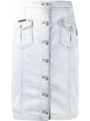 Синяя юбка миди на пуговицах с карманами Philipp Plein