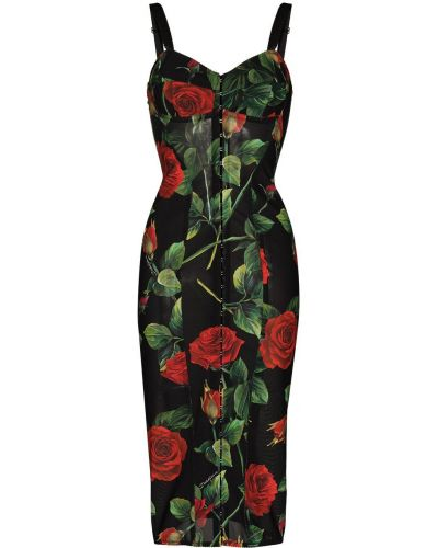 Платье на бретелях - черное Dolce & Gabbana