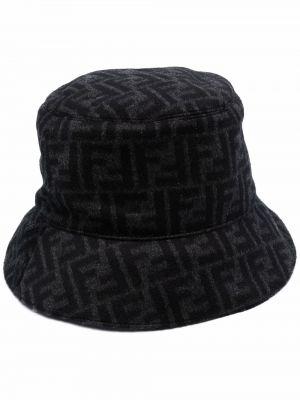 Черная шерстяная шапка Fendi