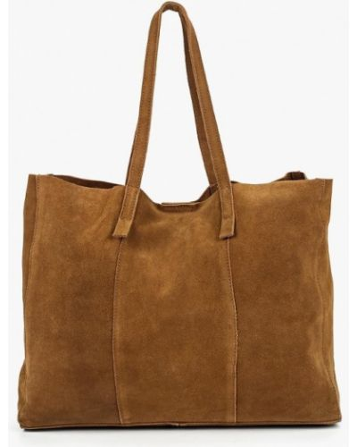 Кожаный сумка с ручками коричневый Mango