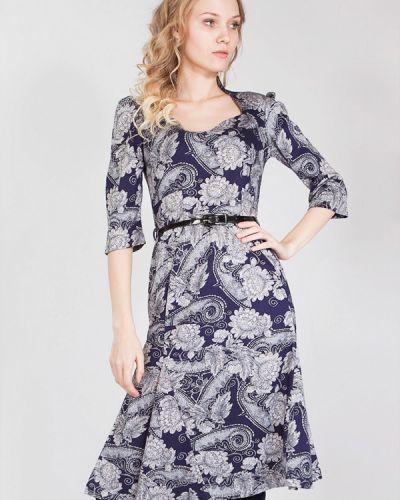 Платье миди осеннее синее мадам т