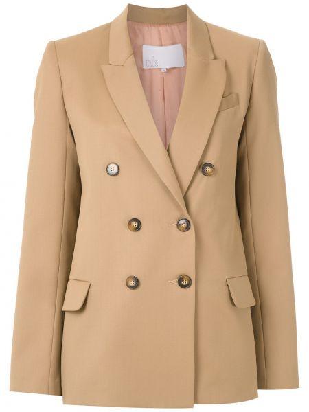 Шерстяной коричневый пиджак двубортный Nk