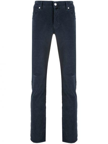 Bawełna spodni niebieski klasyczne spodnie z paskiem Jacob Cohen