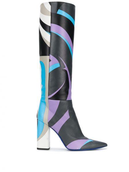 Czarny buty na pięcie z ostrym nosem z prawdziwej skóry na pięcie Emilio Pucci