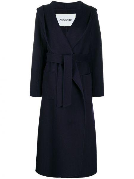 Шерстяное длинное пальто с капюшоном двубортное Ava Adore