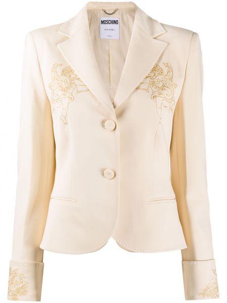 Удлиненный пиджак на пуговицах с отворотом из вискозы Moschino